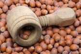 Nutcracker on hazelnuts — Stock Photo