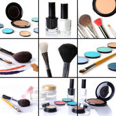 Makeup collage, eyeshadows, blusher,nail polish, brushes — Stock Photo