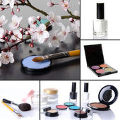 Different makeup products collage — Stock Photo
