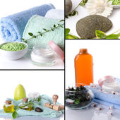 Collage of body care and spa products — Stock Photo
