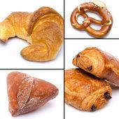 Collage of croissant, bretzel and beignet — Stock Photo