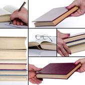 不同的构成与书籍的拼贴画 — 图库照片