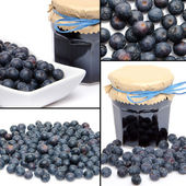 Collage with fresh blueberries and blueberry jam — Stock Photo