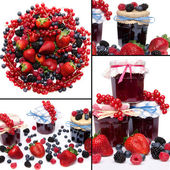 Collage of different red fruits with the associated jams — Stock Photo