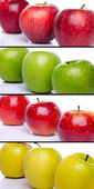 Collage of compositions with different apples — Stock Photo