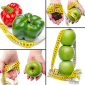 Collage with concepts of diet and weight loss — Stock Photo