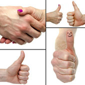 Collage with thumbs up and handshaking — Stock Photo