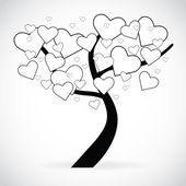 Illustration of a tree with black and white heart shaped leaves — Stock Photo