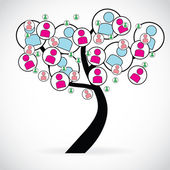 Concept of social networks through an illustration with a tree — Stock Photo