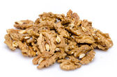 Heap of opened walnuts — Stock Photo