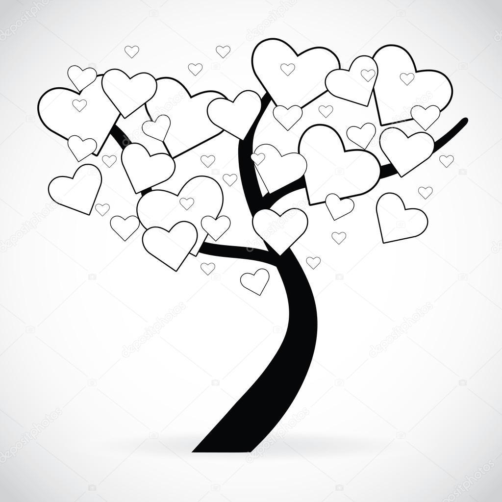 illustration dun arbre avec coeur noir et blanc en forme de feuilles image
