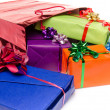 Colorful gift boxes with beautiful bows — Stock Photo #48158361