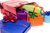 Colorful gift boxes with beautiful bows — Zdjęcie stockowe