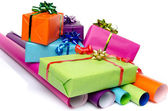 Gifts on color papers — Stock Photo