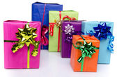 Colorful gift boxes with beautiful bows — Stock Photo