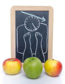 Concept of weight loss with apples — Stok fotoğraf
