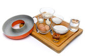 Ingredients to prepare a French ring cake, named savarin — Foto Stock