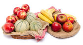 Composition of melons, nectarines, apples and bananas — Stock Photo