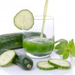 Composition with cucumber juice poured into a glass — Stock Photo #51202405