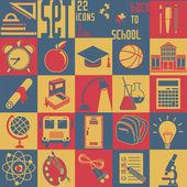 Set Back to school, vector, 22 flat icons (Education symbols) — Stock Vector