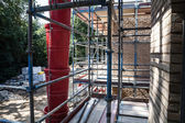 Building site with tools, scaffold — Foto Stock