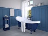 Klassisches badezimmer mit dekoration in blau — Stock Photo