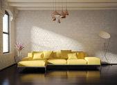 Contemporary stylish loft interior, brick walls, yellow sofa — Stock Photo