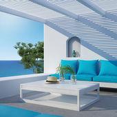 Aegean luxury hotel summer lounge  veranda — Stock Photo