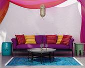 Contemporary bohemian elegant  fresh moroccan living room — Stock Photo