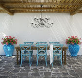 Aegean luxury beach hotel summer lounge dining space — Stock Photo