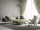 Provence style interior design living room with armchair — 图库照片