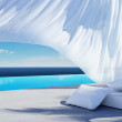 Stock Photo: Curtain wind blow, lounge sofbed, pool suumer holiday