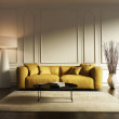 Contemporary elegant living room, yellow sofa, wood floor — Stock Photo