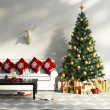 Decorated Christmas tree with gifts, sofa, table, interior — Stock Photo