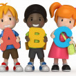 3D render of school kids holding ABC — Stock Photo #41936725