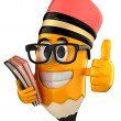 3d render of pencil giving thumbs up and holding books — Stock Photo #41939655