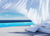 Curtain wind blow, lounge sofa bed, pool suumer holiday — Stock Photo