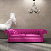Vintage antique tufted modern classic sofa, grunge wall, horse — Stock Photo