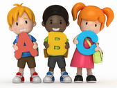 3D render of school kids holding ABC — Foto de Stock