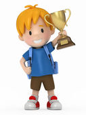 3D Render of Kid with Trophy — Stock Photo