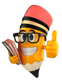 3d render of pencil giving thumbs up and holding books — Foto de Stock