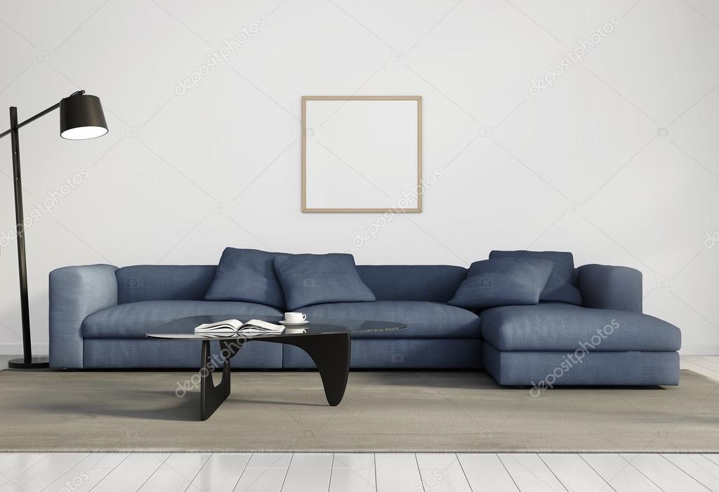 현대 우아한 거실, 블루 소파, 화이트 나무 바닥 — 스톡 사진 ...