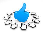 Thumb up like facebook good social media share 3d symbol icon button illustration — Stock Photo