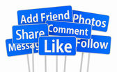 Social media 3d symbol icon facebook like share comment message — Stock Photo