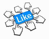 Mão polegar do cursor do mouse em forma de cima como facebook bons meios de comunicação social — Fotografia Stock