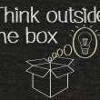 Stock Photo: Thinking outside box written on blackboard background