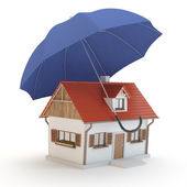 House and umbrella 3D — Stock Photo