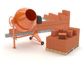 Bricks and concrete mixer — Stock Photo