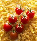 Close up with macaroni and tomato — Stock Photo
