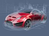 Sports car sketch. Original car design. — Stock Photo